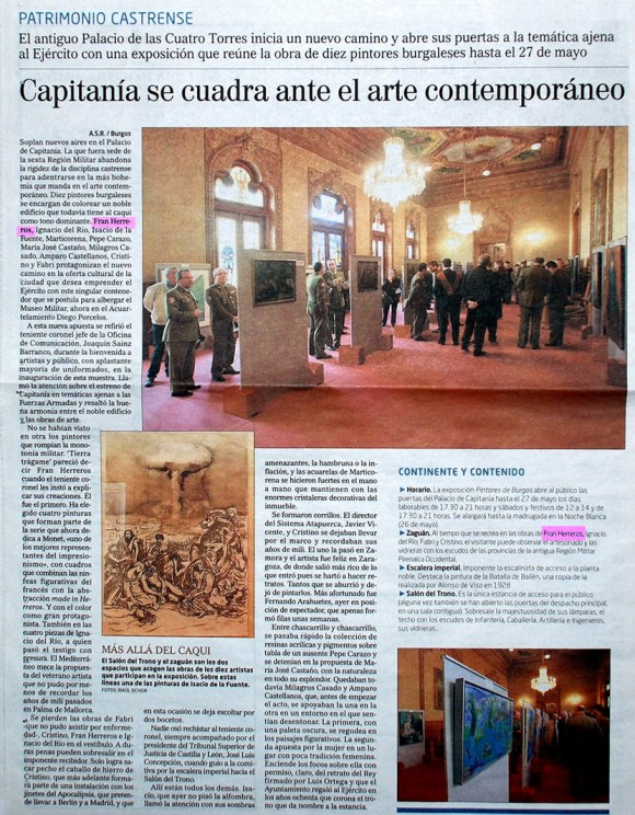Capitania se cuadra ante el arte contemporáneo. El Correo de Burgos, mayo de 2012.