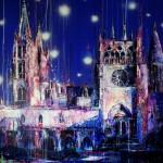 Catedral sumergida II. 146 cm x 146 cm. Mixta sobre lienzo. 2010.