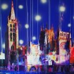 Catedral sumergida VI. 146 cm x 146 cm. Mixta sobre lienzo. 2010.