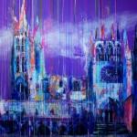 Catedral sumergida X. 146 cm x 146 cm. Mixta sobre lienzo. 2011