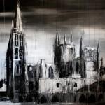 Catedral sumergida XII. 146 cm x 146 cm. Mixta sobre lienzo. 2011