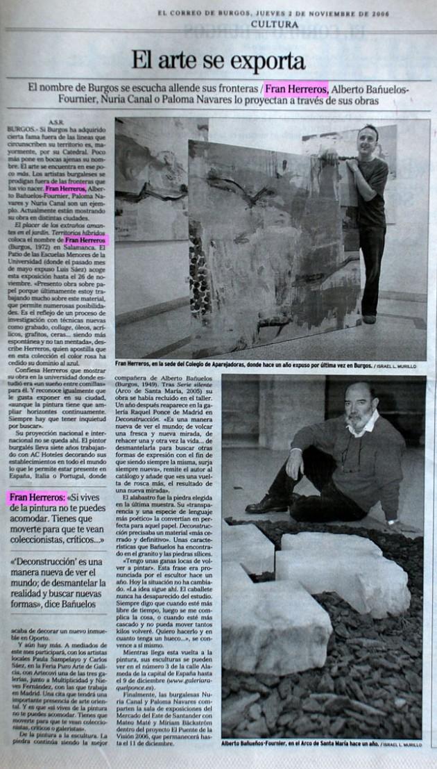 El arte se exporta. El Correo de Burgos, noviembre de 2006.