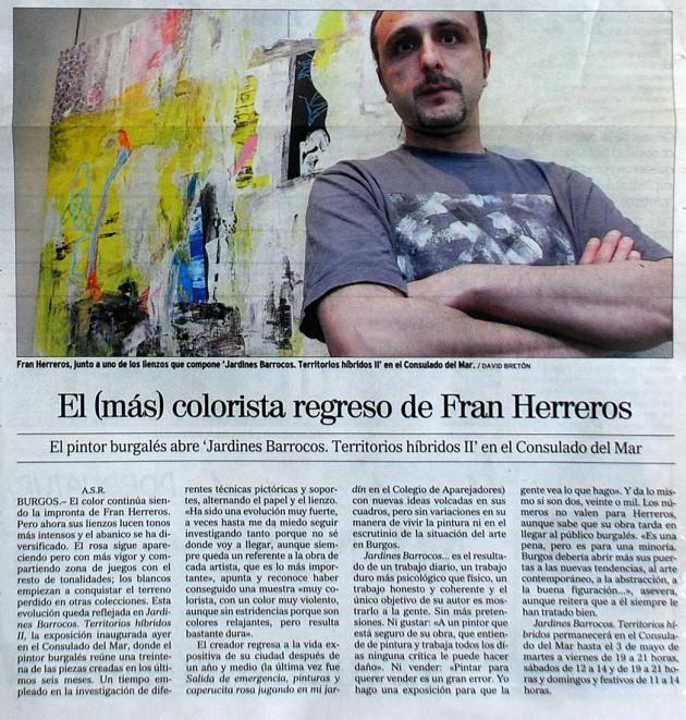 El mas colorista regreso de Fran Herreros. El Correo de Burgos, abril de 2007.