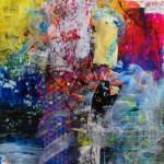 El placer de los extraños amantes en el jardín 214. Mixta sobre papel. 134 cm x 40 cm. 2008.