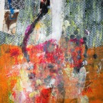 El placer de los extraños amantes en el jardín 220. Mixta sobre papel. 120 cm x 70 cm. 2008.