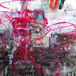El placer de los extraños amantes en el jardín 223. Mixta sobre papel. 134 cm x 100 cm. 2008.