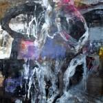 El placer de los extraños amantes en el jardín 226. Mixta sobre papel. 134 cm x 40 cm. 2008.