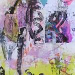 El placer de los extraños amantes en el jardín 64. Mixta sobre papel. 134 cm x 40 cm. 2007.