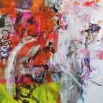 El placer de los extraños amantes en el jardín 68. Mixta sobre papel. 134 cm x 100 cm. 2007.