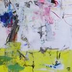 El placer de los extraños amantes en el jardín. 63. Mixta sobre papel. 134 cm x 40 cm. 2007.
