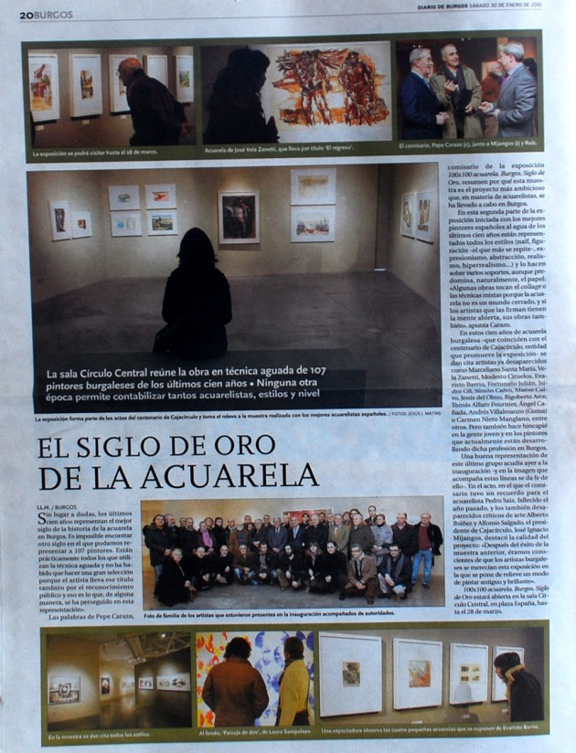El siglo de oro de la Acuarela. Diario de Burgos, enero de 2010.