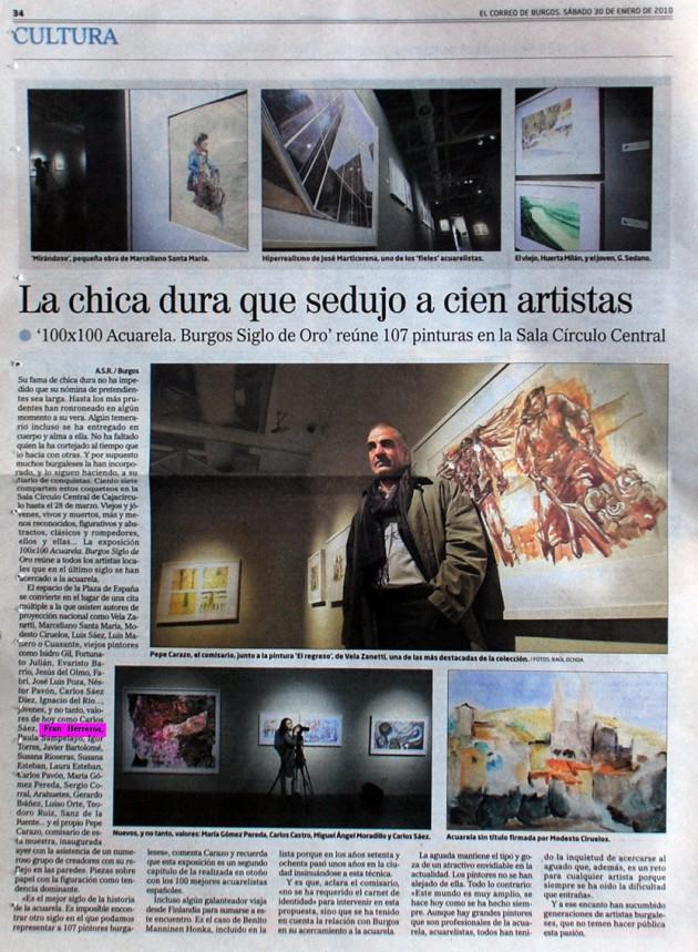 Exposición acuarelistas burgaleses. El Correo de Burgos, enero de 2010.