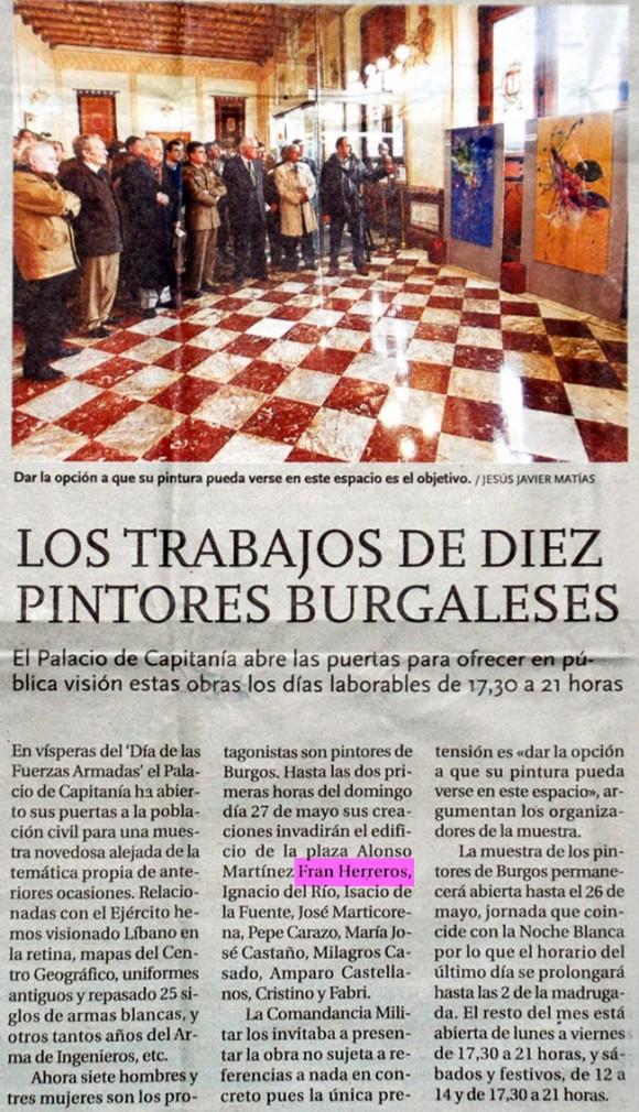 Exposición en Capitania. Diario de Burgos, mayo de 2012.