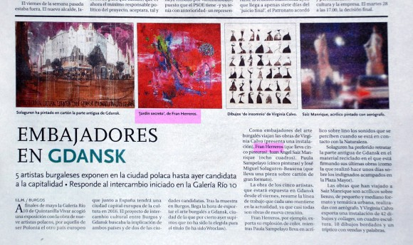 Exposición en Gandsk, Polonia. Diario de Burgos, julio de 2011.