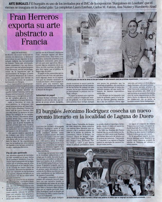 Fran Herreros en Francia. El Correo de Burgos, agosto de 2004.