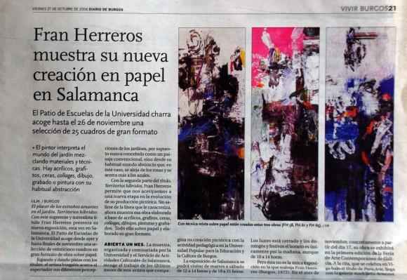 Fran Herreros en Salamanca. Diario de Burgos, octubre de 2006.