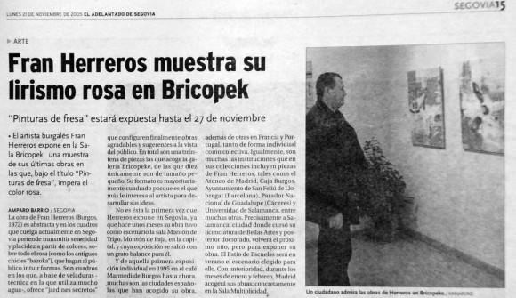 Fran Herreros en Segovia. El Adelantado de Segovia, noviembre de 2005.