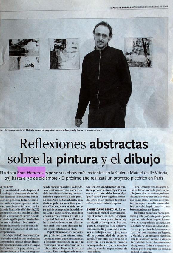 Fran Herreros en la Galería Mainel. Diario de Burgos, diciembre de 2004.