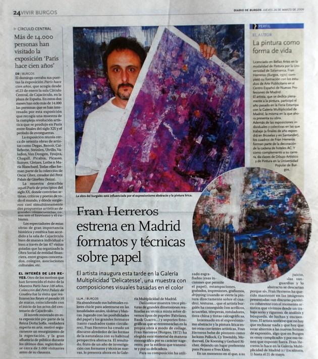 Fran Herreros estrena en Madrid. Diario de Burgos, marzo de 2009.