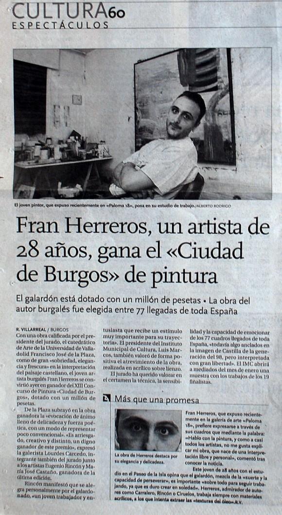 Fran Herreros gana el Ciudad de Burgos de Pintura. El Diario de Burgos, diciembre de 2000.