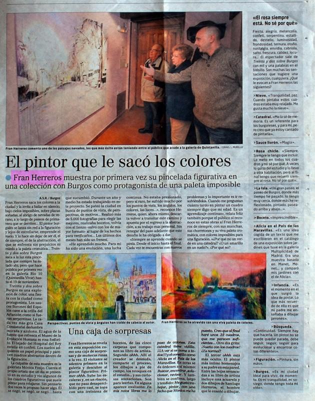 Fran Herreros muestra su pincelada figurativa. El Correo de Burgos, octubre de 2011.