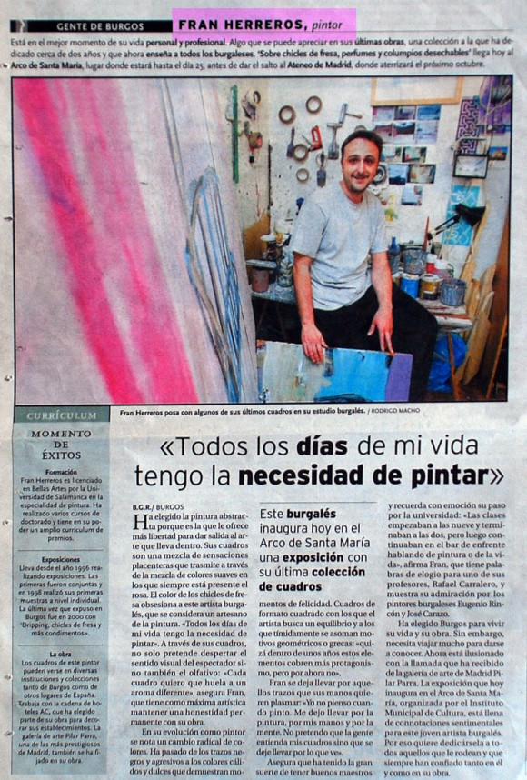 Fran Herreros, pintor. Diario de Burgos, enero 2002.