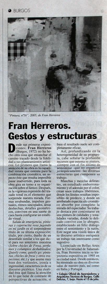 Fran Herreros. Gestos y Estructuras. C.O.A.A.T. El Punto de las Artes, Junio de 2005.