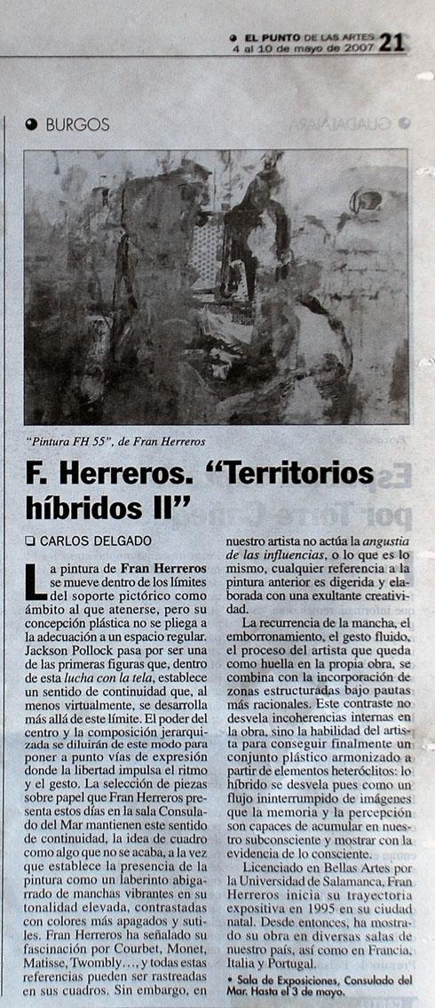 Fran Herreros. Territorios Híbridos. El Punto de las Artes, mayo de 2007.
