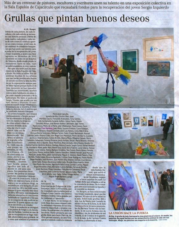 Grullas que pintan buenos deseos. El Correo de Burgos, marzo de 2012.