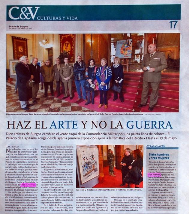 Haz el arte y no la guerra. Diario de Burgos, mayo de 2012.