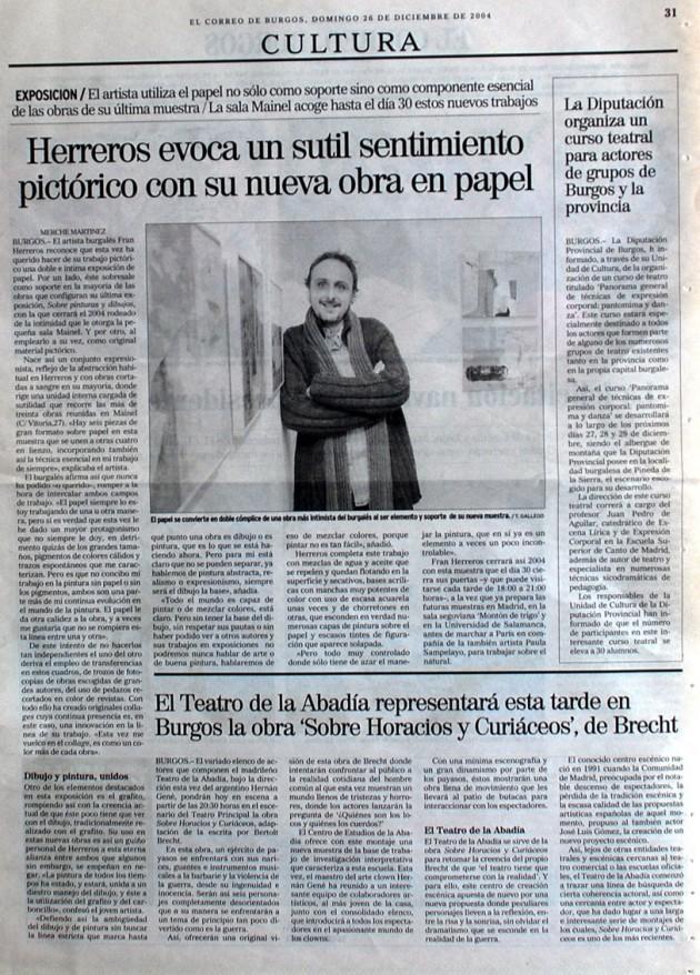 Herreros en Mainel. El Correo de Burgos, diciembre de 2004.