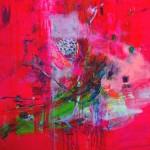 Jardín secreto sobre el rosa. 100 cm x 100 cm. Acrílico sobre lienzo. 2011.