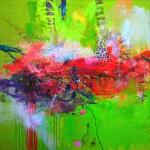 Jardín secreto sobre el verde. 100 cm x 100 cm. Acrílico sobre lienzo. 2011.
