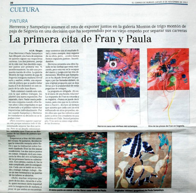 La primera cita de Fran y Paula. El Correo de Burgos, noviembre de 2012.