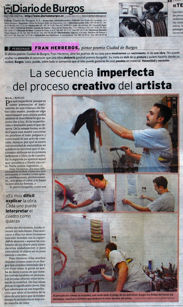La secuencia imperfecta. Diario de Burgos, enero de 2001.