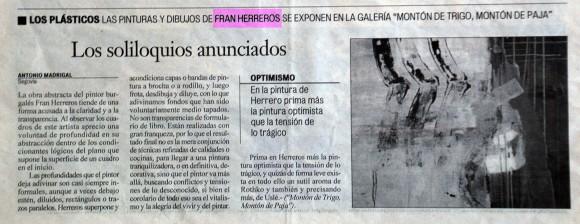 Los soliloquios anunciados. El Adelantado de Segovia, diciembre de 2005.