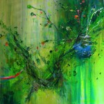 Ninfeas en verde I. 146 cm x 146 cm. Acrílico sobre lienzo. 2012