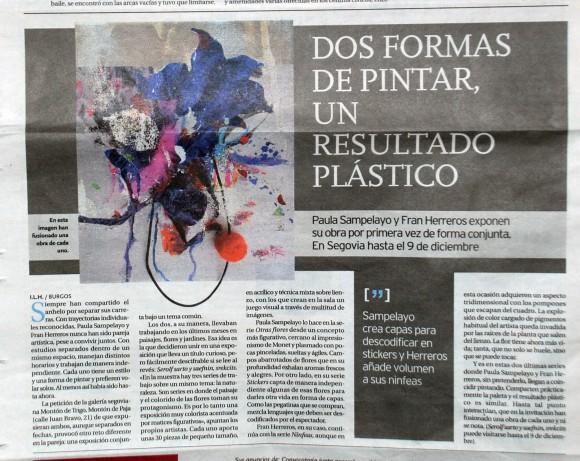 Paula Sampelayo y Fran Herreros exponen juntos por primera vez. Diario de Burgos, noviembre de 2012.