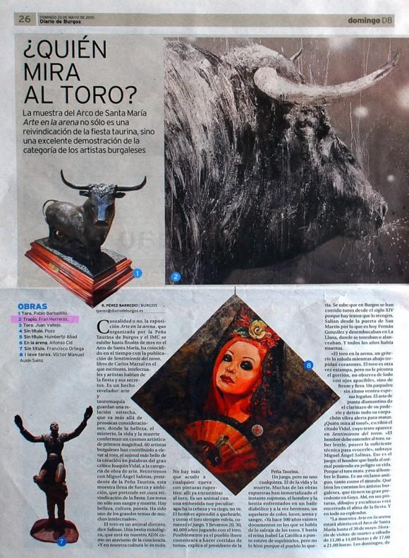 Quién mira al toro. Diario de Burgos, mayo de 2010.
