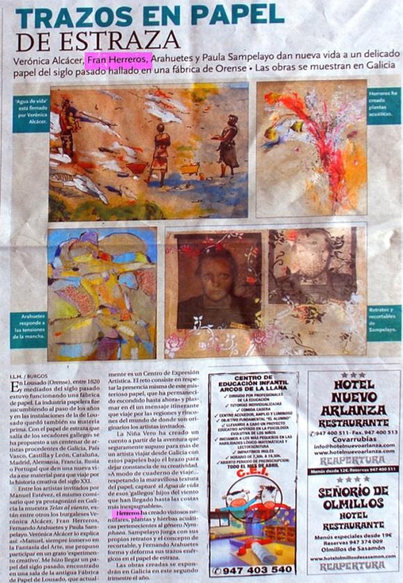 Trazos en papel de estraza. Diario de Burgos, abril de 2012.