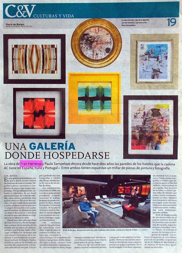 Una Galería donde hospedarse. Diario de Burgos, enero de 2012.
