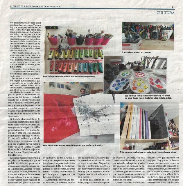 El pintor del más dificil todavía II. El Correo de Burgos, mayo 2013.