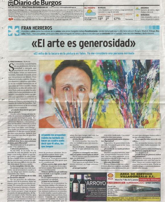Fran Herreros. Diario de Burgos, mayo de 2013.