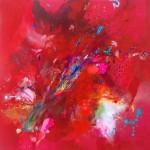 Hummingbirds V. 100 cm x 100 cm. Acrílico sobre lienzo. 2013.