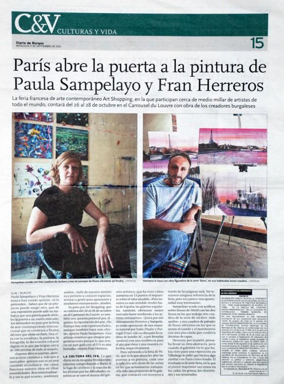 París abre la puerta a Paula Sampelayo y Fran Herreros. Diario de Burgos, septiembre de 2013.