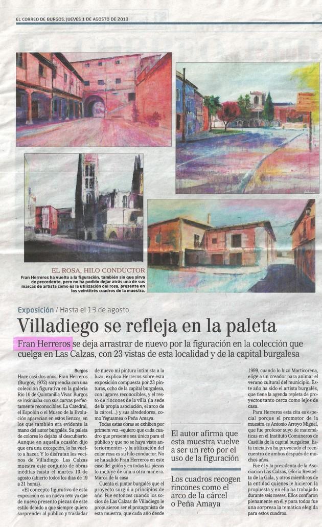 Villadiego se refleja en la paleta. El Correo de Burgos, agosto de 2013.