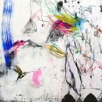 Deux colibris. 30 x 30 cm. Mixta sobre papel. 2014