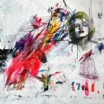 Le colibri de Marilym. 30 x 40 cm. Mixta papel. 2014.