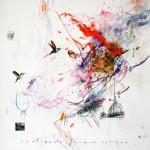 Sentiments de mon colibri. 50 x 50 cm. Mixta sobre papel. 2014.