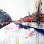 Sobre Burgos. 146 x 146 cm. Acrílico sobre lienzo. 2014